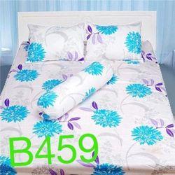 Bộ Drap Cotton Thắng Lợi - Họa tiết xanh nềm trắng B459 Trắng