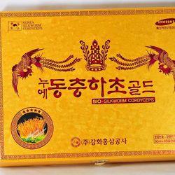 Đông trùng hạ thảo hộp gỗ vàng 60 gói Korea giá sỉ