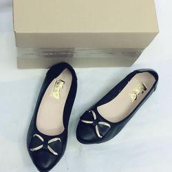 giày bệt nữ da bò nơ KL móc