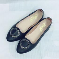 giày bệt nữ nơ đính hạt cườm nhỏ
