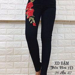 Quần jeans dài thêu hoa 3D giá sỉ