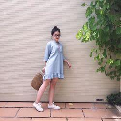 Đầm Jean Đuôi Cá Cổ Trụ giá sỉ
