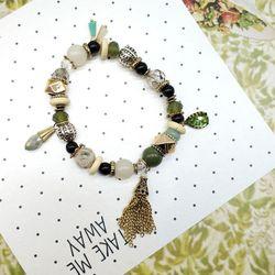 Vòng tay nữ đá tự nhiên hạt charm thiết kế Hàn AT2316
