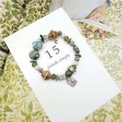 Vòng tay nữ đá tự nhiên hạt charm thiết kế Hàn AT2315