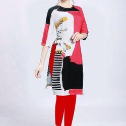 Áo dài cách tân họa tiết in 3d màu đỏ giá sỉ