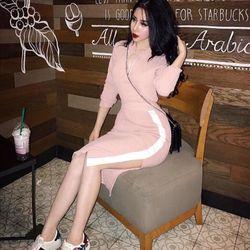 Sét áo len tay dài chân váy phối màu