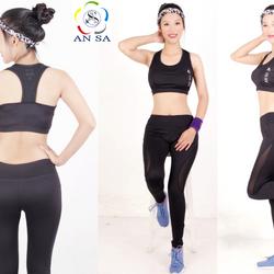Bộ thể thao nữ AN SA quần dài áo bra phối lưới đen - DD100