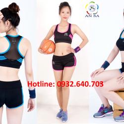 Bộ đồ ngắn thể thao nữ áo bra phối viền kèm mút -DN2