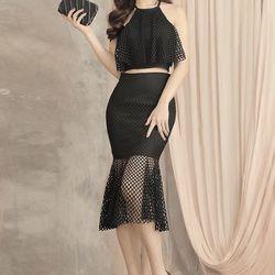 Bộ áo váy đen xòe đuôi cá 3348