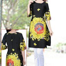 áo dài cách tân họa tiết hoa màu vàng giá sỉ