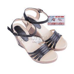 Giày nữ Huy Hoàng đế xuồng màu đen HR7035 giá sỉ