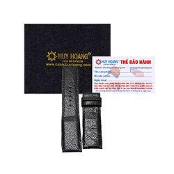 Dây đồng hồ Huy Hoàng da đà điểu màu đen HR8401