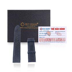 Dây đồng hồ Huy Hoàng da đà điểu màu xanh đậm HR8406