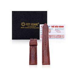 Dây đồng hồ Huy Hoàng da đà điểu màu nâu đỏ HR8407 giá sỉ