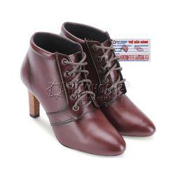 Giày boot nữ Huy hoàng da bò cột dây màu da HR7070
