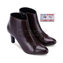 Giày boot nữ Huy hoàng da bò màu nâu chỉ hình tam giác HR7039 giá sỉ