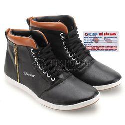Giày nam Huy Hoàng cổ cao màu đen phối da HR7754
