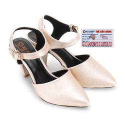 Giày nữ Huy Hoàng cột dây hở gót màu kem HR7096