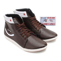 Giày nam Huy Hoàng cổ cao màu nâu phối nút đỏ HR7757 giá sỉ
