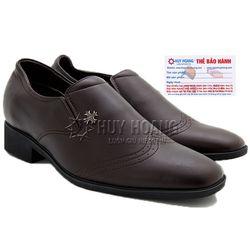 Giày nam tăng chiều cao Huy Hoàng màu nâu HR7715 giá sỉ