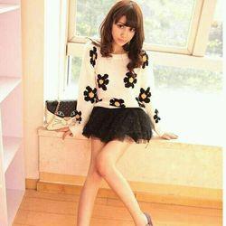 Áo len nữ họa tiết Hoa Mai dài tay mùa thu đông