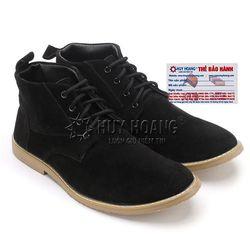Giày nam Huy Hoàng cổ cao trơn màu đen HR7758 giá sỉ
