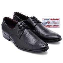 Giày tây nam Huy Hoàng có dây vân đà điểu màu đen HR7164