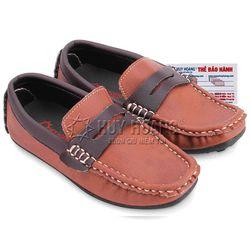 Giày kids mọi nam Huy Hoàng màu nâu đỏ phối nâu đất HR7808