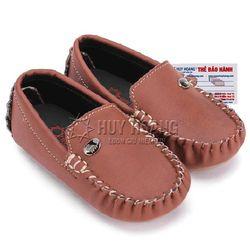 Giày kids mọi nam Huy Hoàng màu nâu đỏ phối đá HR7814