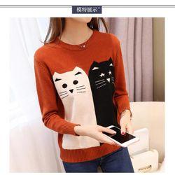 - Áo len họa tiết mèo xinh xắn giá sỉ