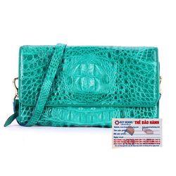 Túi xách nữ da cá sấu Huy Hoàng đeo chéo màu xanh lá HR6254