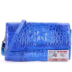Túi xách nữ da cá sấu Huy Hoàng đeo chéo màu xanh dương HR6235 giá sỉ