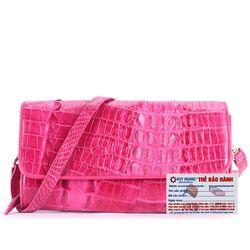 Túi xách nữ da cá sấu Huy Hoàng đeo chéo 2 gai màu hồng HR6250 giá sỉ