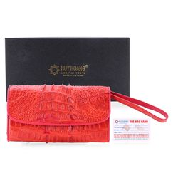 Ví nữ da cá sấu Huy Hoàng 3 gấp gai màu đỏ HR3290 giá sỉ