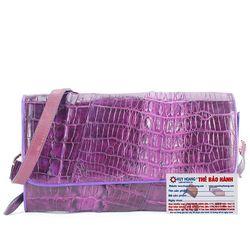 Túi xách nữ da cá sấu Huy Hoàng đeo chéo 2 gai màu tím HR6251 giá sỉ