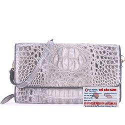 Túi xách nữ da cá sấu Huy Hoàng đeo chéo màu xám HR6237