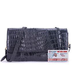 Túi xách nữ da cá sấu Huy Hoàng đeo chéo 2 gai màu đen HR6246 giá sỉ