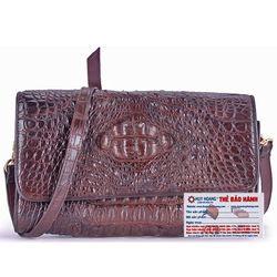 Túi xách nữ da cá sấu Huy Hoàng đeo chéo màu nâu đất HR6231 giá sỉ