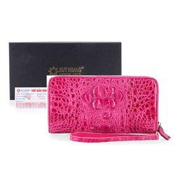 Ví nữ da cá sấu Huy Hoàng nhiều ngăn màu hồng HR3275 giá sỉ