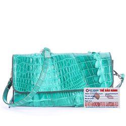 Túi xách nữ da cá sấu Huy Hoàng đeo chéo 2 gai màu xanh lá HR6252 giá sỉ