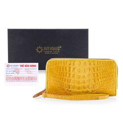 Ví nữ da cá sấu Huy Hoàng 2 khóa gai màu vàng nghệ HR3253 giá sỉ