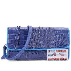 Túi xách nữ da cá sấu Huy Hoàng đeo chéo 2 gai màu xanh đậm HR6253