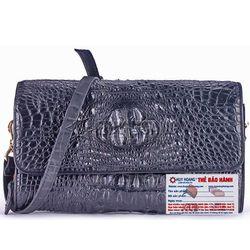 Túi xách nữ da cá sấu Huy Hoàng đeo chéo màu đen HR6228