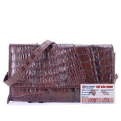 Túi xách nữ da cá sấu Huy Hoàng đeo chéo 2 gai màu nâu đất HR6249 giá sỉ
