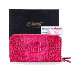 Ví nữ da cá sấu Huy Hoàng 2 khóa nguyên con màu hồng HR3268 giá sỉ