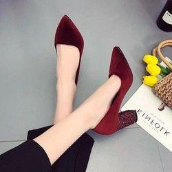 giày búp bê gót vuông kim sa 7p giá sỉ