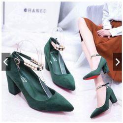giày búp bê vòng châu gót vuông 7p giá sỉ