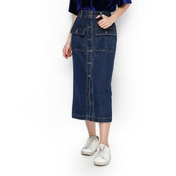 Chân váy Jean gài nút dáng dài phong cách