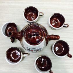 Bộ tách trà sứ 6 ly và bình trà lớn tặng kèm giá treo ly tiện dụng giá sỉ, giá bán buôn