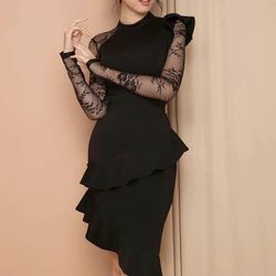 Đầm body đen phối ren 2287